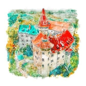 Burg heldburg schloss deutschland aquarell skizze hand gezeichnete illustration