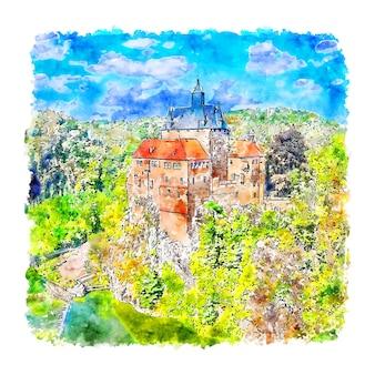 Burg kriebstein deutschland aquarell skizze hand gezeichnete illustration
