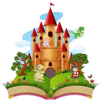 Burg mit drachen und ein ritter im bilderbuch