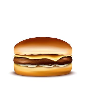 Burger auf weißem hintergrund. illustration.