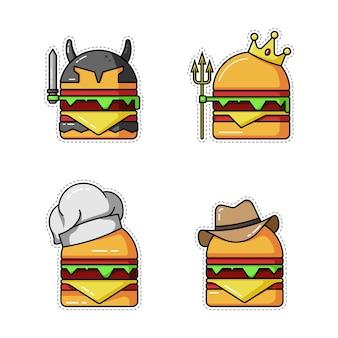 Burger-aufkleber-set. burger-vektor-illustration
