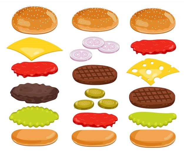 Burger-bestandteile eingestellt auf weiß