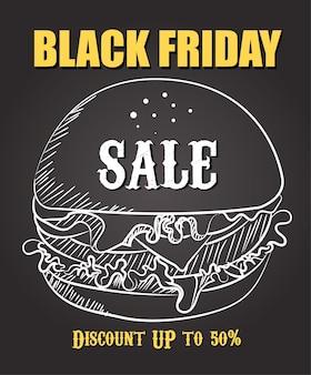 Burger big sale promo poster hintergrund vektor. essen black friday verkaufsvorlage. handzeichnung burger.