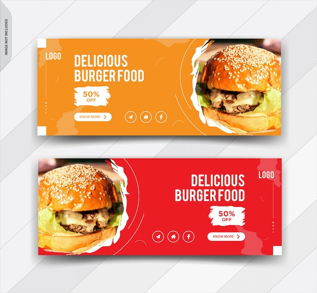 Burger facebook cover social media post design