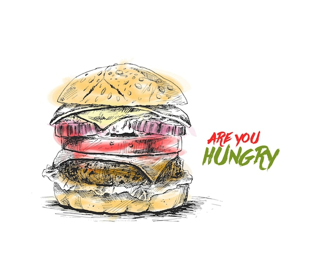 Burger-fast-food-konzept hand gezeichnete skizze vektor-illustration