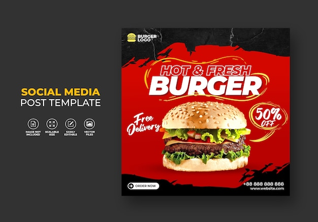 Burger fast food restaurant promotion für social media vorlage.