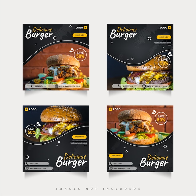 Burger food social media post template set