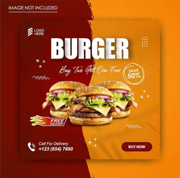 Burger food social media promotion und banner post vorlage