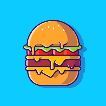 Burger geschmolzene cartoon-illustration. flacher cartoon-stil