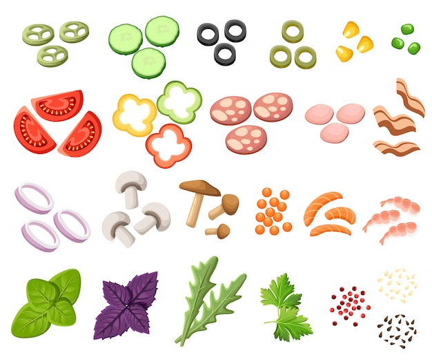 Burger gesetzt. zutaten brötchen, käse, speck, tomate, zwiebel, salat, gurken, gurken, rindfleisch, schinken. illustration. toppings sandwich website-seite und mobile app-element.