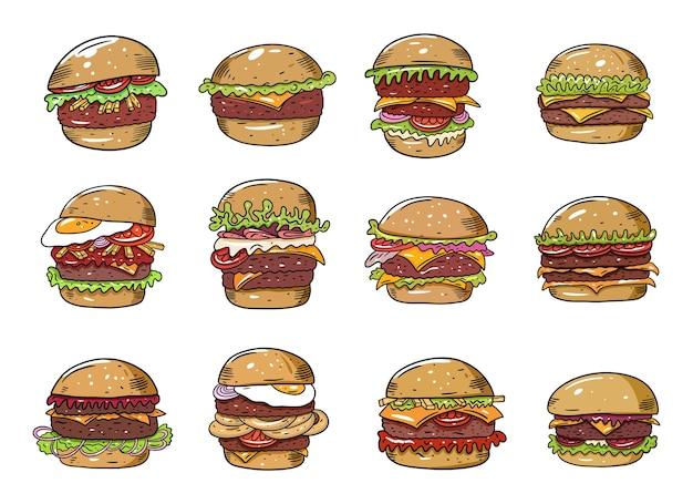 Burger großes set. flach bunt. auf weißem hintergrund isoliert. skizzieren sie textdesign für becher, blog, karte, plakat, fahne und t-shirt.