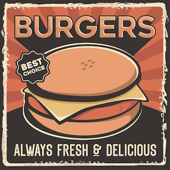Burger hamburger rindfleisch schweinefleisch huhn käse beschilderung poster retro rustikal