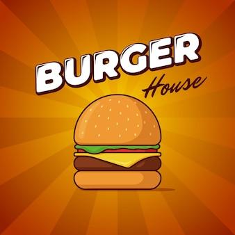 Burger-haus-fast-food-mahlzeit-werbeplakat mit strahlen und beschriftung lecker