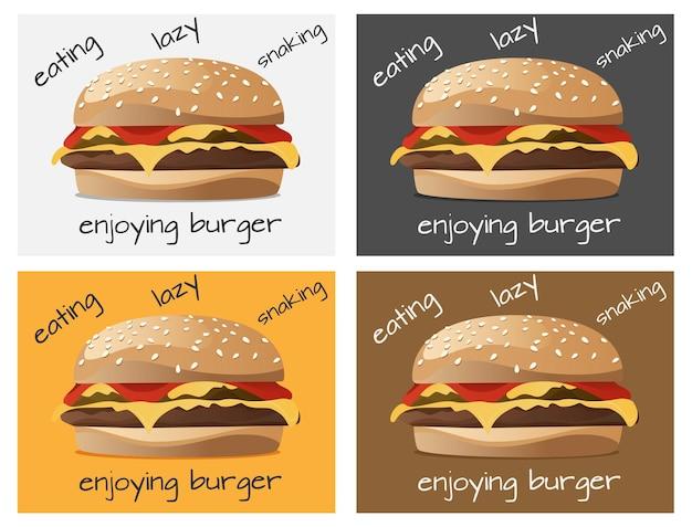 Burger-hintergrunddesign in mehreren farbvorlagen zur auswahl