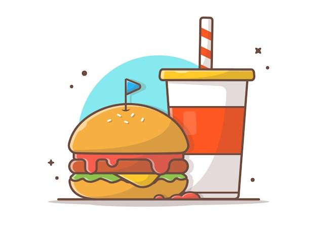 Burger-ikone mit soda-und eis-ikonen-illustration