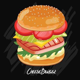 Burger isoliert auf schwarz