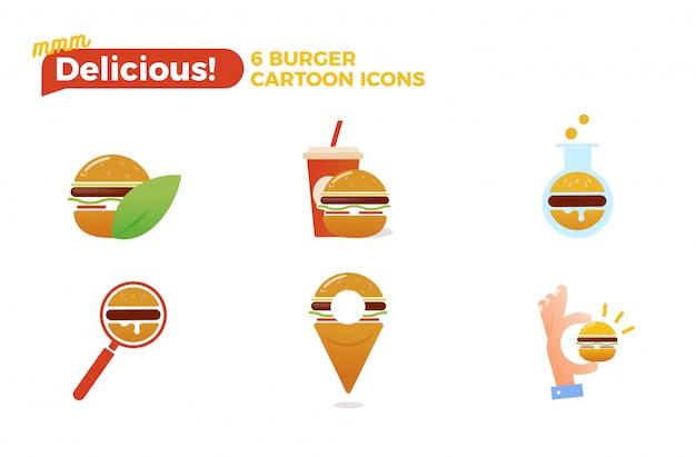 Burger-karikatur-ikonensatz