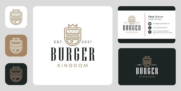 Burger-königreich-logo mit stationärem design