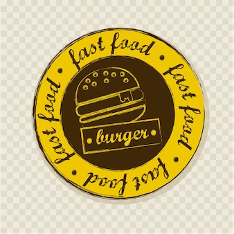 Burger label über quadrate hintergrund vektor-illustration
