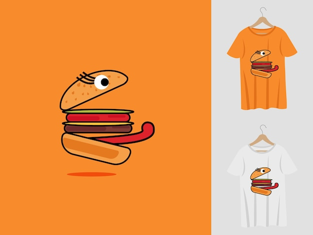 Burger logo maskottchen design mit t-shirt. fuchskopfillustration für sportmannschaft und bedrucktes t-shirt.