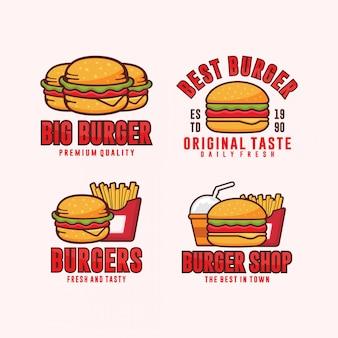 Burger logos design illustration sammlung