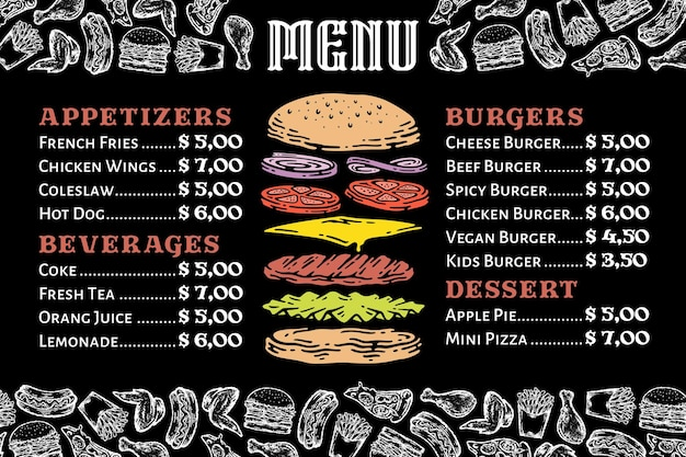 Burger-menü auf tafel mit fast-food-element-illustration