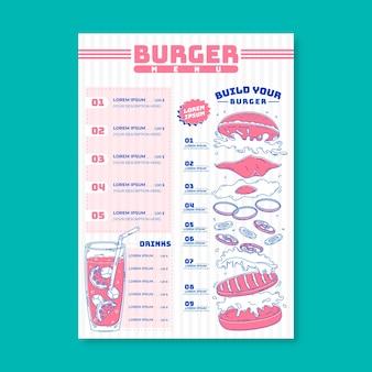 Burger menü vorlage konzept