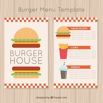 Burger-menüvorlage mit getränken und pommes