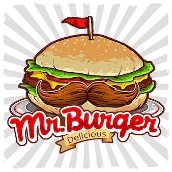Burger mit dem schnurrbartvektor für restaurantlogo der ungesunden fertigkost