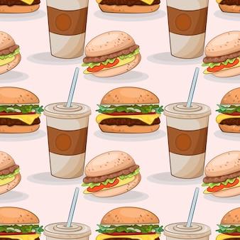 Burger mit kaltem getränk muster