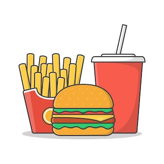Burger mit pommes und soda