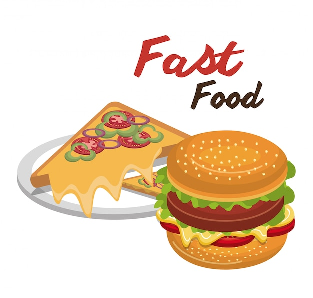 Burger pizza fast food design isoliert