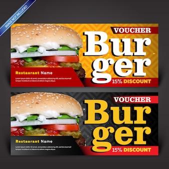 Burger rabatt-gutschein, vorlage gutschein-design