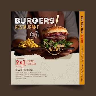 Burger restaurant quadratische flyer vorlage