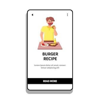 Burger-rezept, das mann auf küchenvektor vorbereitet. köstliches burger-rezept mit käse-, paprika-, fleischsteak- und soßenbestandteilen bereiten jungen mann vor. charakter isst hamburger web-flache cartoon-illustration