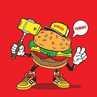 Burger selfie charakter design