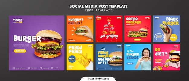 Burger social media feed post vorlage Premium Vektoren
