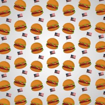 Burger und flagge amerikanischen unabhängigkeitstages muster