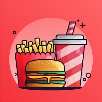 Burger und getränk mit pommes-frites-steigungs-illustration