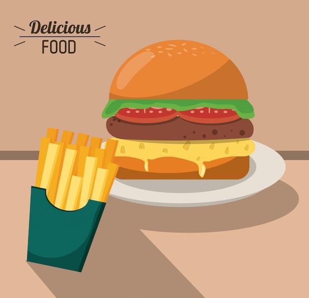 Burger und pommes frites des köstlichen lebensmittels schnellen