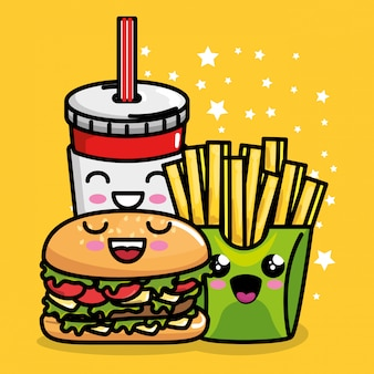 Burger und pommes frites mit soda kawaii charakter