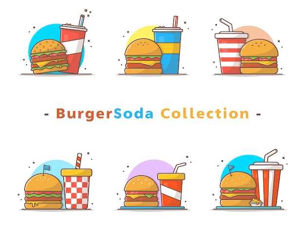 Burger- und soda-sammlung