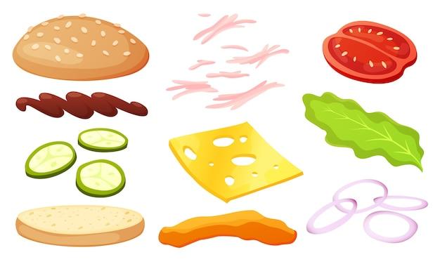 Burger zutaten diy sammlung. set von isolierten zutaten für ihren eigenen burger und sandwich. geschnittenes gemüse, saucen, brötchen und schnitzel für burger.
