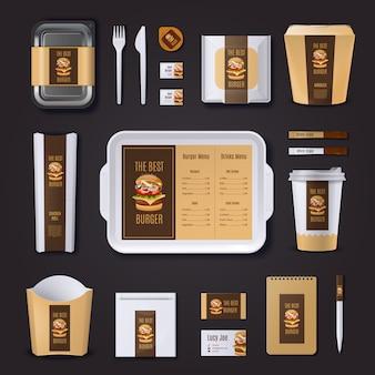 Burgerbar-unternehmensidentität für verpackungsmaterial und visitenkarten