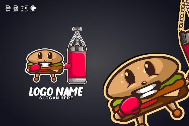 Burgerboxen niedliches maskottchen-charakter-logo-design