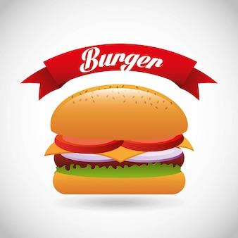 Burgerdesign über grauer hintergrundvektorillustration