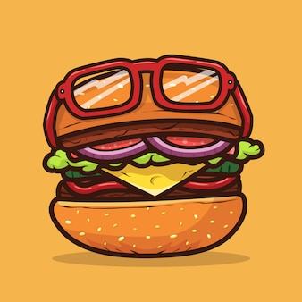 Burgerillustration mit brillenlebensmittelillustration