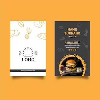 Burgers restaurant doppelseitige visitenkarte