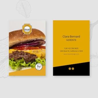 Burgers restaurant visitenkartenvorlage