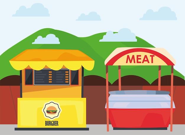 Burguer- und fleischmarktdesign des ladeneinzelhandelsgeschäfts und kaufthemaillustration